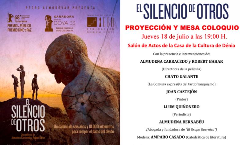 """PROYECCIÓN Y MESA-COLOQUIO DEL DOCUMENTAL """"EL SILENCIO DE OTROS"""" EN DENIA"""